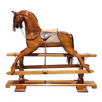 Large Vintage English Stevenson Brothers Walnut and Leather Rocking Horse