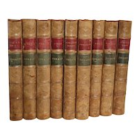Set of 9 Leather Books: Works by Benjamin Disraeli