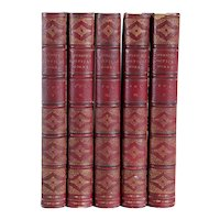 Set of Five Leather Books: The Poetical Works of Edmund Spenser