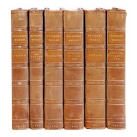 Set of Six Leather Bound Books: Emerson's Essays by Ralph Waldo Emerson