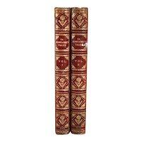 Set of Two Leather Books: La Fontaine's Tales by Jean de La Fontaine