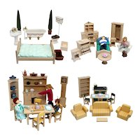 Collection of Vintage English Honeychurch Wooden Dollhouse Furniture and Dolls