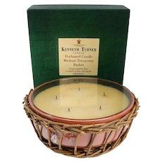 Vintage English Kenneth Turner Perfumed Medium Terracotta Basket Five-Wick Candle