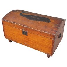 Small American Painted Pine and Inlaid Mahogany Sailor's Dome Top Trunk