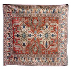Pakistan Kazak Handknotted Red Geometric Rug