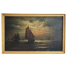 Signed Oil on Canvas Painting, Sailing Ships at Dusk