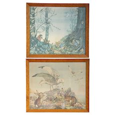 Pair of Vintage English MOLLY BRETT Chromolithographs, Children's Book Illustrations