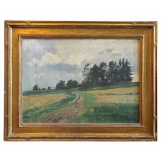 PAUL MULLER-CALLNBERG Oil on Canvas Painting, Pastoral Landscape with Newcomb-Macklin Frame
