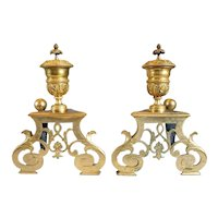Pair of French Louis XIV Style Gilded Bronze Fireplace Andirons