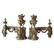 Pair of French Louis XVI Bronze Chenets