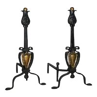 Pair of American Arts and Crafts Period Brass and Iron Fireplace Andirons