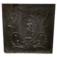 French Louis XVI Style Cast Iron Fireplace Fireback
