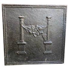 French Louis XVI Style Cast Iron Fireplace Fireback
