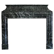 Signed French Jules Cantini Louis XIV Style Vert de Mer Marble Fireplace Surround
