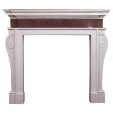 English Palladian Style White and Red Porphyry Marble Fireplace