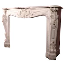 Exceptional French Louis XV Style White Marble Fireplace Surround