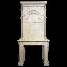 French Louis XIV Limestone Fireplace Surround and Overmantel