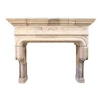 Large French Louis XIV Limestone Cantilever Fireplace Surround