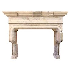 Large French Louis XIV Limestone Fireplace Surround