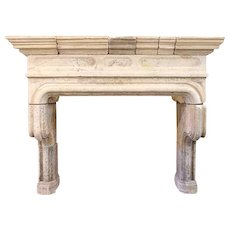 French Louis XIV Limestone Fireplace Surround
