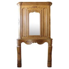 French Provincial Louis XV Oak Fireplace Surround and Mirrored Overmantel