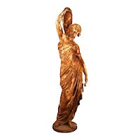 After MATHURIN MOREAU Cast Iron Standing Female Statuary Figure