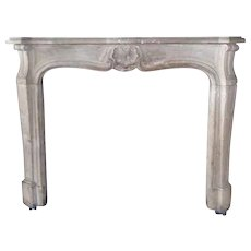 French Provincial Louis XV Style Limestone Fireplace Surround