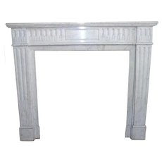 French Louis XVI Style White Marble Fireplace Surround