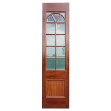 Vintage Mahogany Framed Paneled Glass Single Door