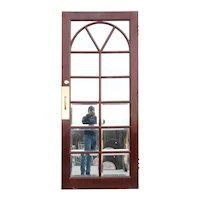 Vintage Solid Mahogany and Beveled Mirror Interior Single French Door