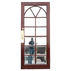 Vintage Solid Mahogany and Beveled Mirror Interior Single French Door