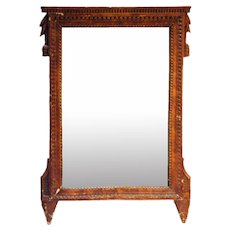 French Provincial Louis XVI Pine Wall Mirror