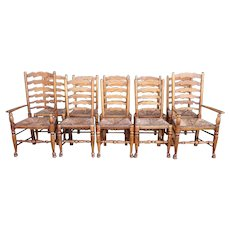 Set of 10 English Country Oak Rush Seat Ladderback Dining Chairs