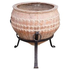 Large Spanish Handmade Pottery Vessel with Iron Stand