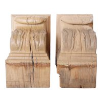 Pair of American Lafayette Hughes Manison Carved Oak Architectural Corbels