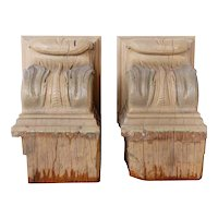 Pair of American Lafayette Hughes Mansion Carved Oak Architectural Corbels