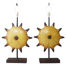 Pair of Vintage Industrial Painted Metal Gear Sculptures as Table Lamps
