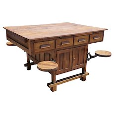 Vintage American E.H. Sheldon & Co. Industrial Oak Lab Table