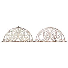 Pair of Anglo Indian Painted Cast Iron Arched Architectural Transoms