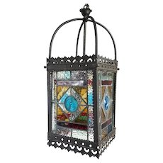 English Victorian Brass, Stained and Leaded Glass Hanging Hall Lantern