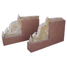 Indian Carved Limestone Bird-Form Architectural Brackets on Custom Iron Bases
