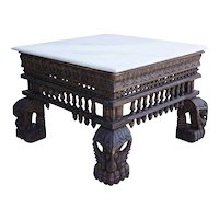 Indian White Marble Top Teak Base Square Coffee Table