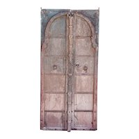 Indian Mughal Iron Mounted Painted Teak Double Door