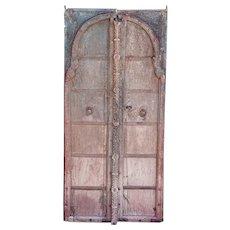 Indian Mughal Iron Mounted Painted Teak Double Door