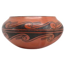 Native American ZELLA CHEEDA Hopi Black on Red Pottery Bowl