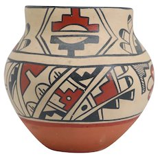 Vintage Native American CAROL LORETTO Jemez Polychrome Pottery Jar