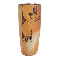 Vintage Native American Hopi Polychrome Pottery Brush Jar