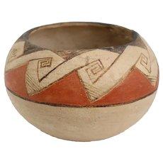 Small Vintage Native American Southwest Polychrome Pottery Bowl