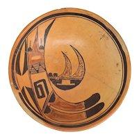 Native American Hopi Polychrome Pottery Shallow Bowl
