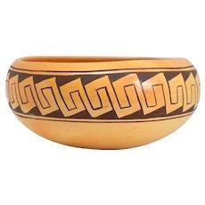 Vintage Native American GARNET PAVATEA Hopi-Tewa Pottery Bowl